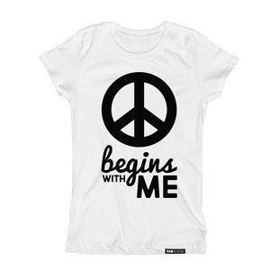 PEACE BEGINS WITH ME Short Sleeve T-shirt - FABVOKAB