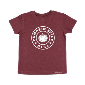 PUMPKIN SPICE GIRL Maroon Short Sleeve Kids, Teen, Girls, T-shirt