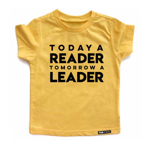 TODAY A READER Yellow Short Sleve Kids T-shirt - FABVOKAB