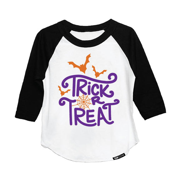 TRICK OR TREAT HALLOWEEN DESIGN RAGLAN (3 color options) - FABVOKAB