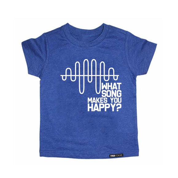 WHAT SONG MAKES YOU HAPPY? Blue Short Sleve T-shirt - FABVOKAB