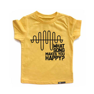 WHAT SONG MAKES YOU HAPPY? Yellow Short Sleve Kids T-shirt - FABVOKAB