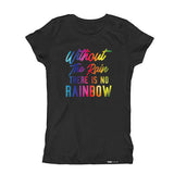 WITHOUT THE RAIN THERE IS NO RAINBOW Kids Short Sleeve T-shirt - FABVOKAB