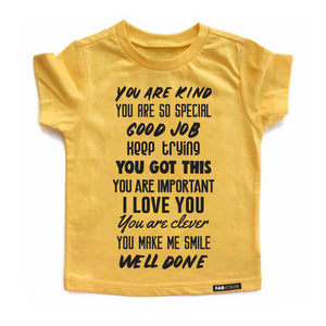 WORDS Yellow FabVokab graphic teeYellow Short Sleeve T-shirt - FABVOKAB