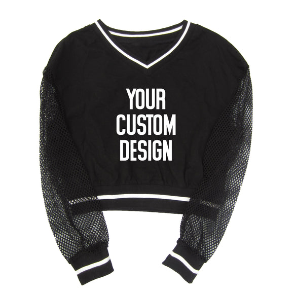 CUSTOM (YOUR DESIGN) CROP TOP SWEATSHIRT WITH FISHNET SLEEVES - FABVOKAB