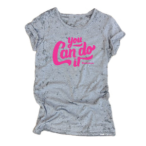 YOU CAN DO IT #believeinyou Grey Acid Retro Wash Junior Short Sleeve T-Shirt - FABVOKAB
