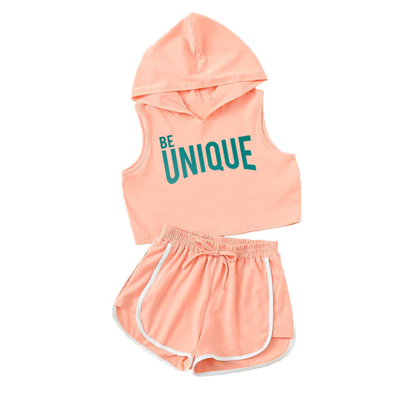 BE UNIQUE Girls Hooded Peach Crop Top and Shorts Set - FABVOKAB