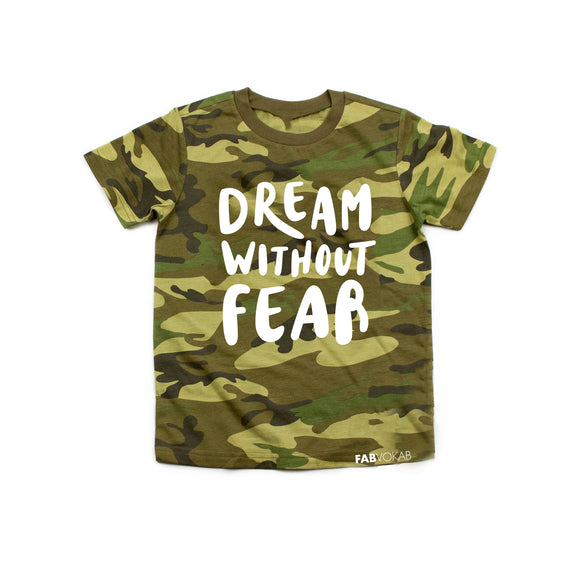 DREAM WITHOUT FEAR CAMO GREEN Kids Short Sleeve T-shirt - FABVOKAB