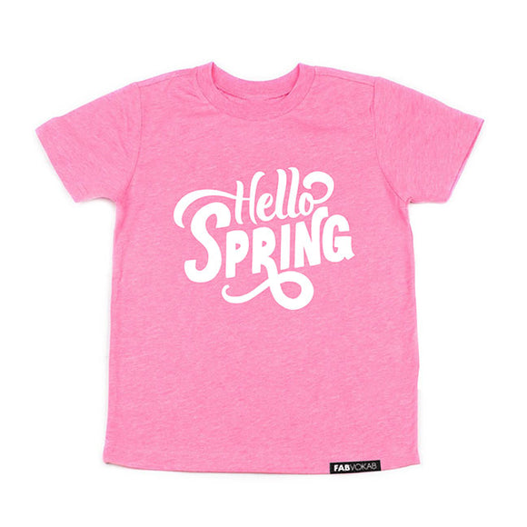 HELLO SPRING Pink or Coral Kids graphic tee - FABVOKAB