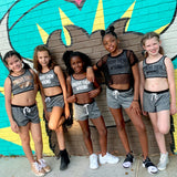 PROVE THEM WRONG Girls Grey Crop Top and Shorts Set - FABVOKAB