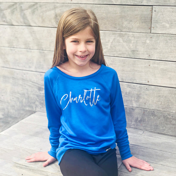 CUSTOM NAME GIRLS' ATHLETIC SWEATSHIRT (BLUE) - FABVOKAB