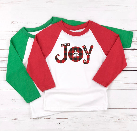 JOY (PLAID DESIGN) KIDS, GIRLS, BOYS, TEENS HOLIDAYS RAGLAN