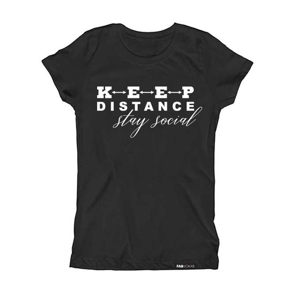 KEEP DISTANCE STAY SOCIAL Kids, Teen Short Sleeve T-shirt - FABVOKAB