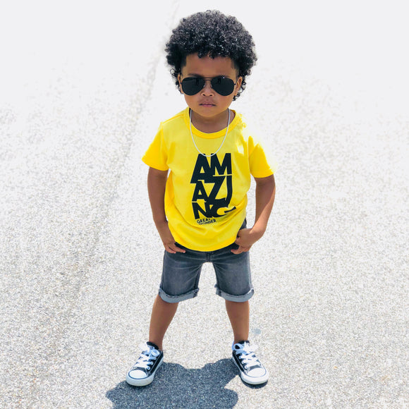 AMAZING Yellow Short Sleeve Kids T-shirt - FABVOKAB