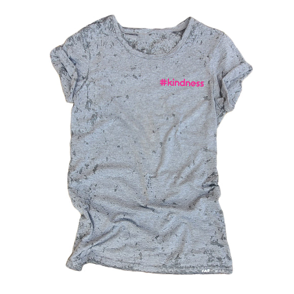 #KINDNESS Grey Acid Retro Wash Junior Short Sleeve T-Shirt - FABVOKAB