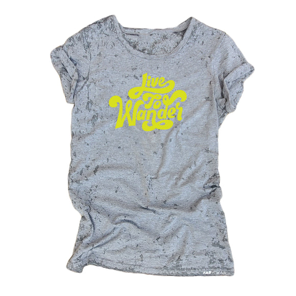 LIVE TO WONDER Grey Acid Retro Wash Junior Short Sleeve T-Shirt - FABVOKAB