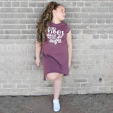BAD VIBES DON'T GO WITH MY OUTFIT GIRLS BURGUNDY HEM DRESS - FABVOKAB
