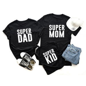 SUPER MOM, SUPER DAD, SUPER KID family matching t-shirts - FABVOKAB