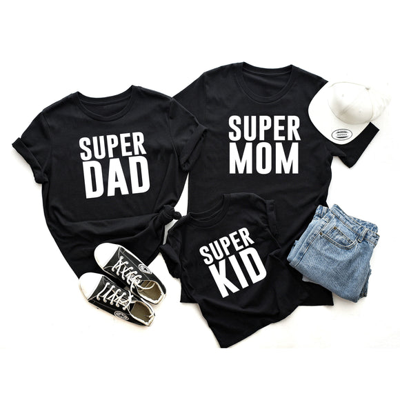 SUPER MOM, SUPER DAD, SUPER KID family matching t-shirts (3) - FABVOKAB