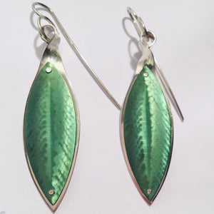 Green Laurel Leaf Earrings