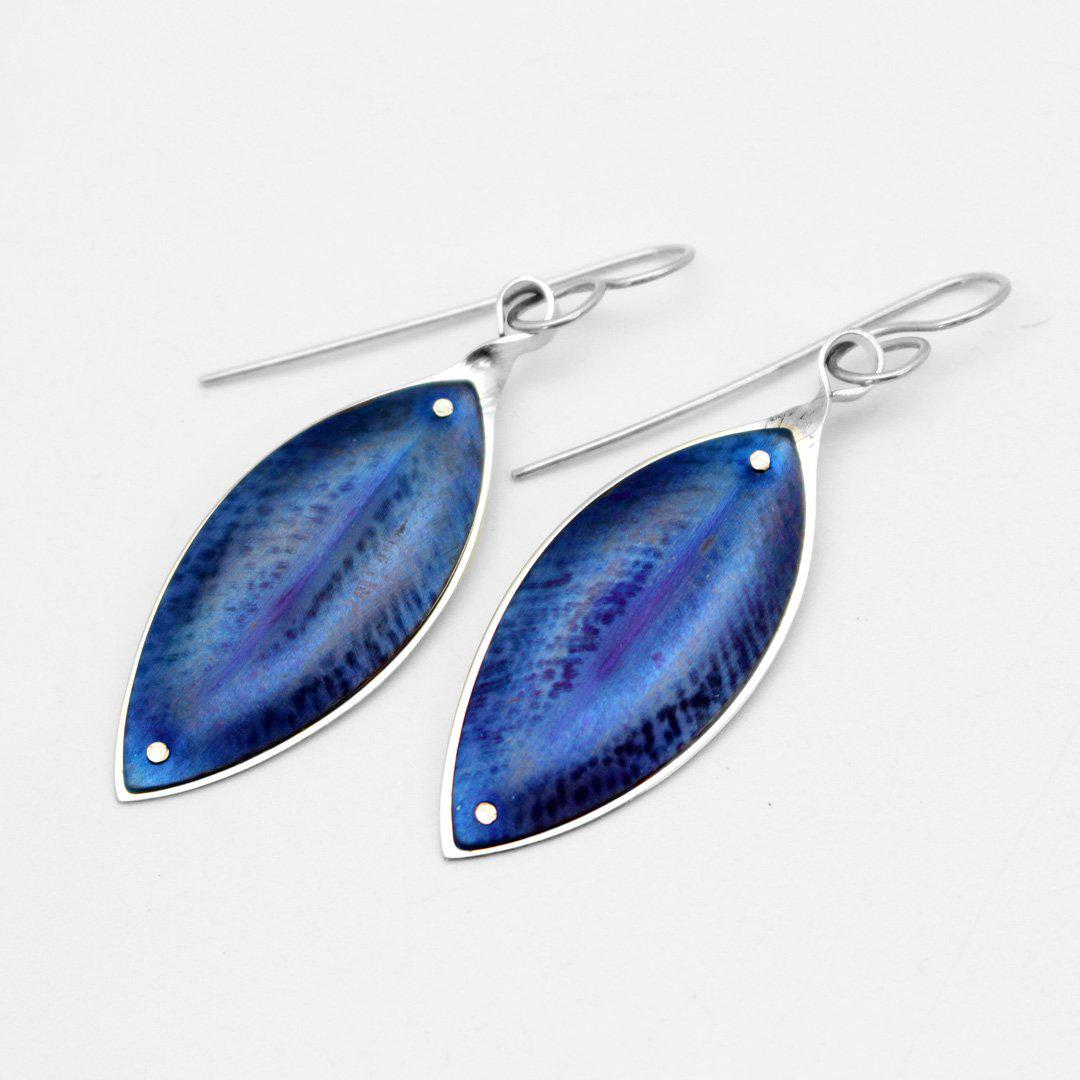 Blue Pohutukawa Leaf Earrings