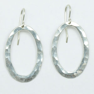 Oval Pīrori Silver Earrings