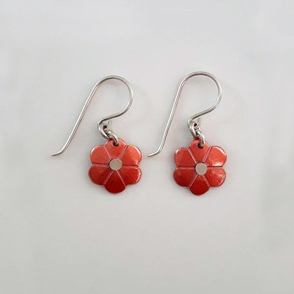 Red Copper Daisy earrings