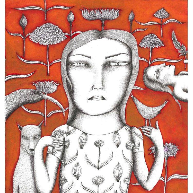 'Lady In Orange' A3 Print