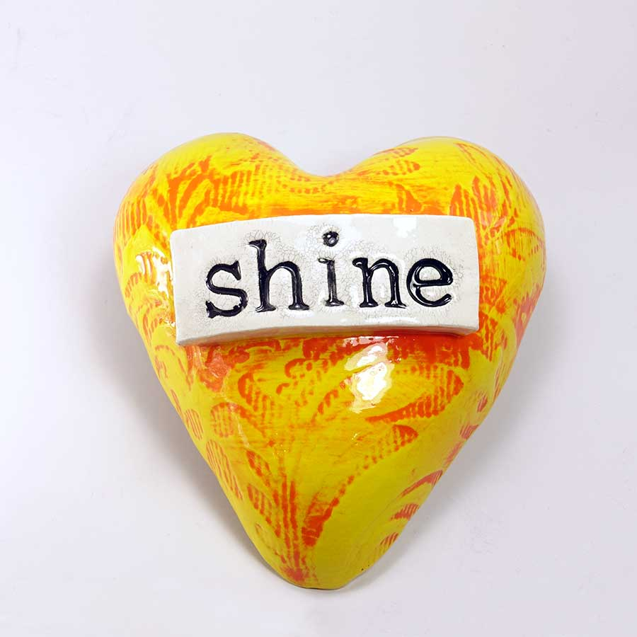 'Shine' Heart - Yellow & Red