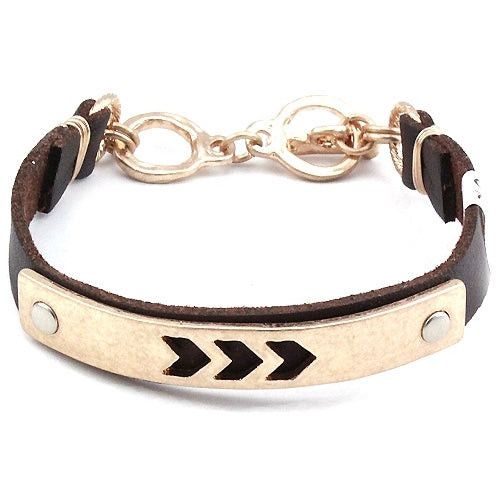Any Way We Want Arrow and Brown Leather Bracelet