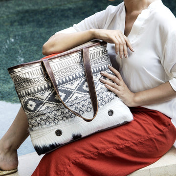 Cracks Of Heaven Aztec Canvas, Leather and Hairon Tote