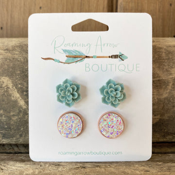 Succulents and Rose Gold/White Druzy Stud Earring Set
