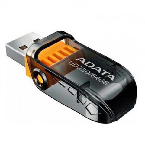 Memoria Usb Adata Ud230 64 Gb 2.0 Retractil Flash Color Negra - ordena-com.myshopify.com