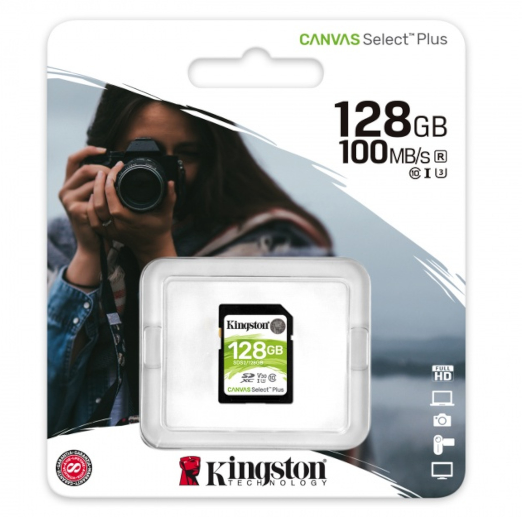 Kingston Sds2/128gb Memoria Sd Sdxc Canvas Select 100r Cl10 Uhs-I V30