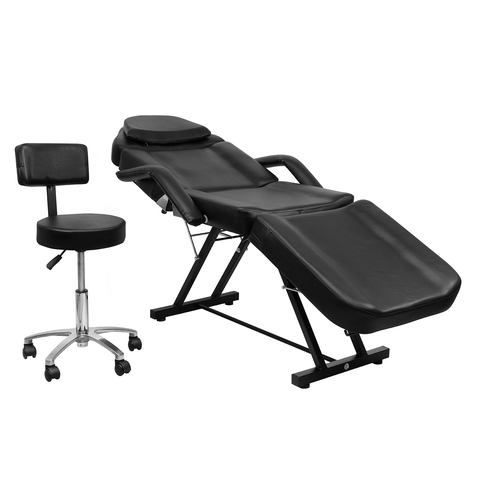 Silla Reclinable Para Faciales Con Banco Color Negro