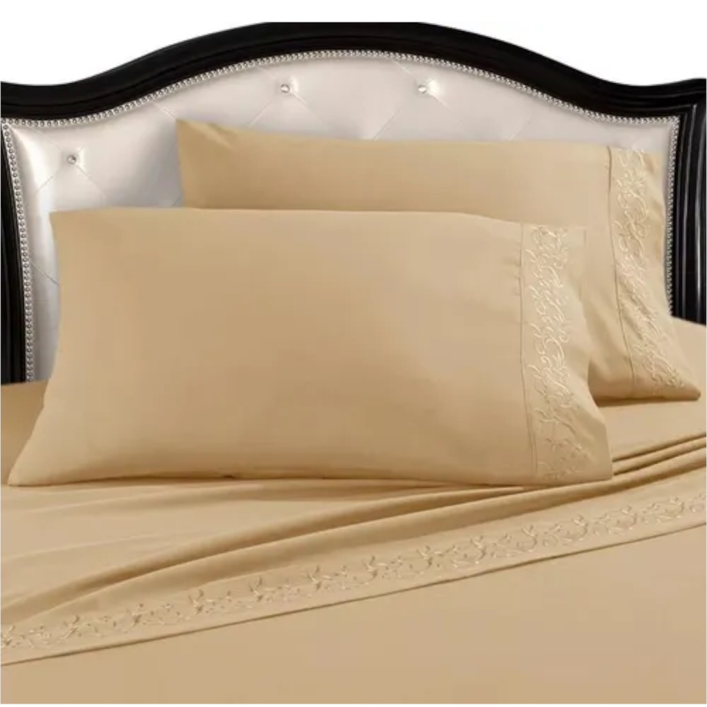 Melocotton Sabanas queen size 2500 hilos bordado color Beige