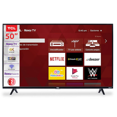 Tcl Pantalla De 50pl 4 K Ultra Hd Smart Tv Con Roku Integrado