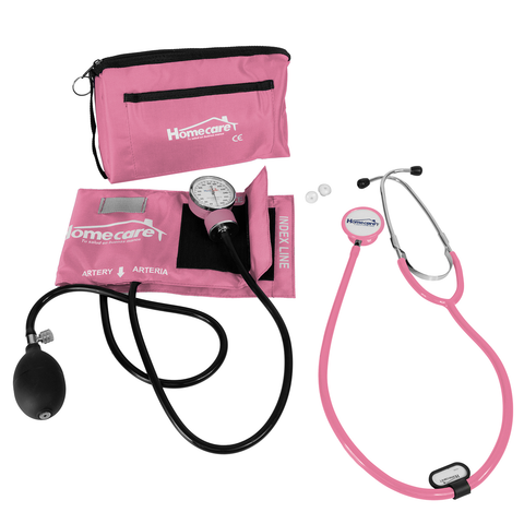 Homecare Dmh2600 Kit Baumanometro Estetoscopio Doble Rosa