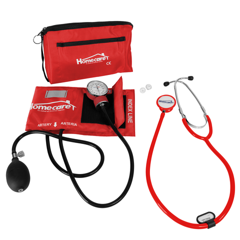 Homecare Dmh2600 Kit Baumanometro Estetoscopio Doble Rojo