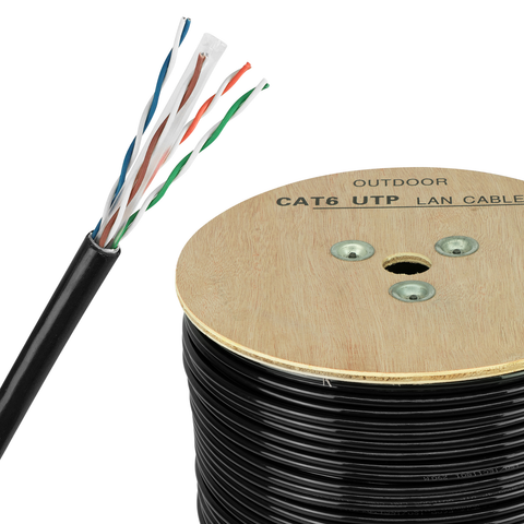 Bobina de Cable de Red UTP Cal 0.56 mm Cat 6e Exterior 300 m