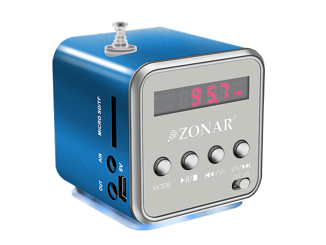 Zonar Kube Bm501 Mini Bocina Mp3 Radio Fm Azul
