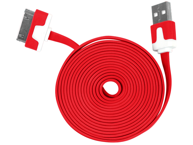 GINGA Cable USB para Iphone 4 Rojo