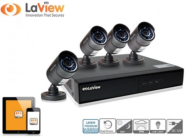 LAVIEW LV- KH944FT4B5-T1 KIT 4 CAMARAS BALA/DVR/4CH/720P/CABLES/SOPORT