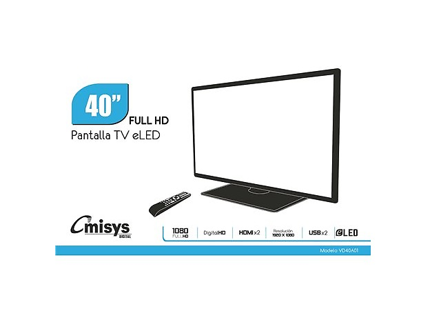 OMISYS VD40A01 Pantalla TV 40 ELED 1080 FULL HD, DIGITAL HD