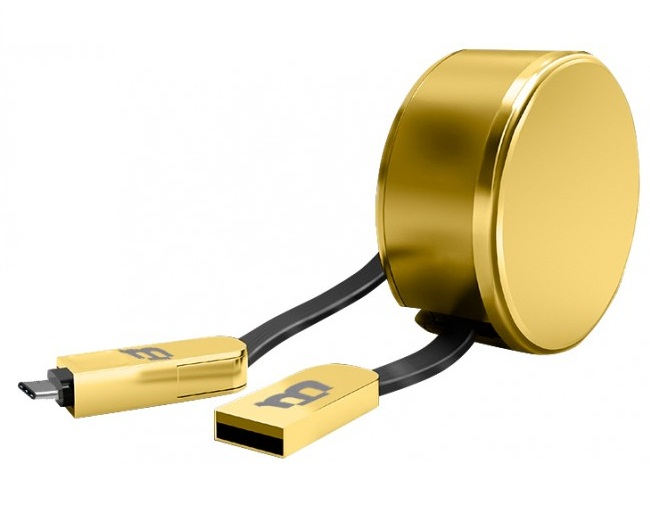 Blackpcs Cagmcpr 3 Cable V8 C Oro 1m Plastico 2.1a Retractil, Oro