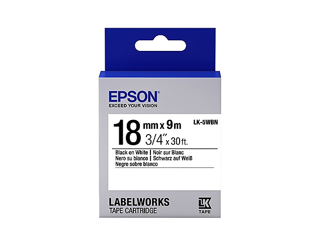 Epson LK-5WBN Cinta Estandar 18mmx9mm Color Negra/Blanca