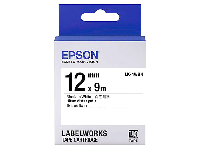 Epson LK-4WBN Cinta Estanadar 12mm Color Negro/Blanco