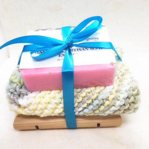Gift Set - Soap Dish Facecloth Handmade Soap Dish