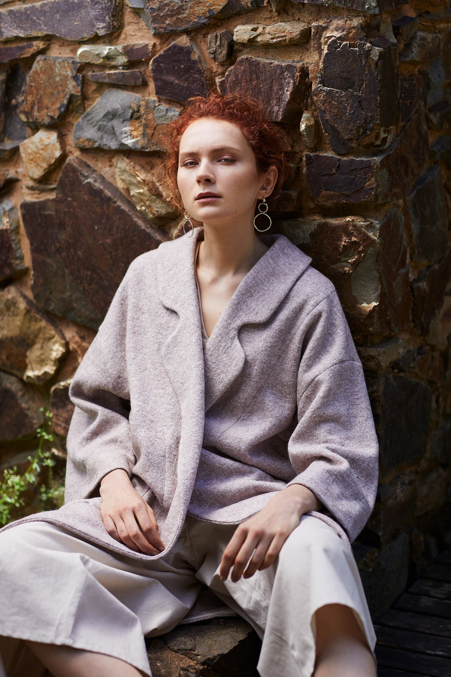 keegan AW19 Woodland Campaign Ethical Fashion Made in Melbourne Australia Cream Wool Coat Bluestone Wall