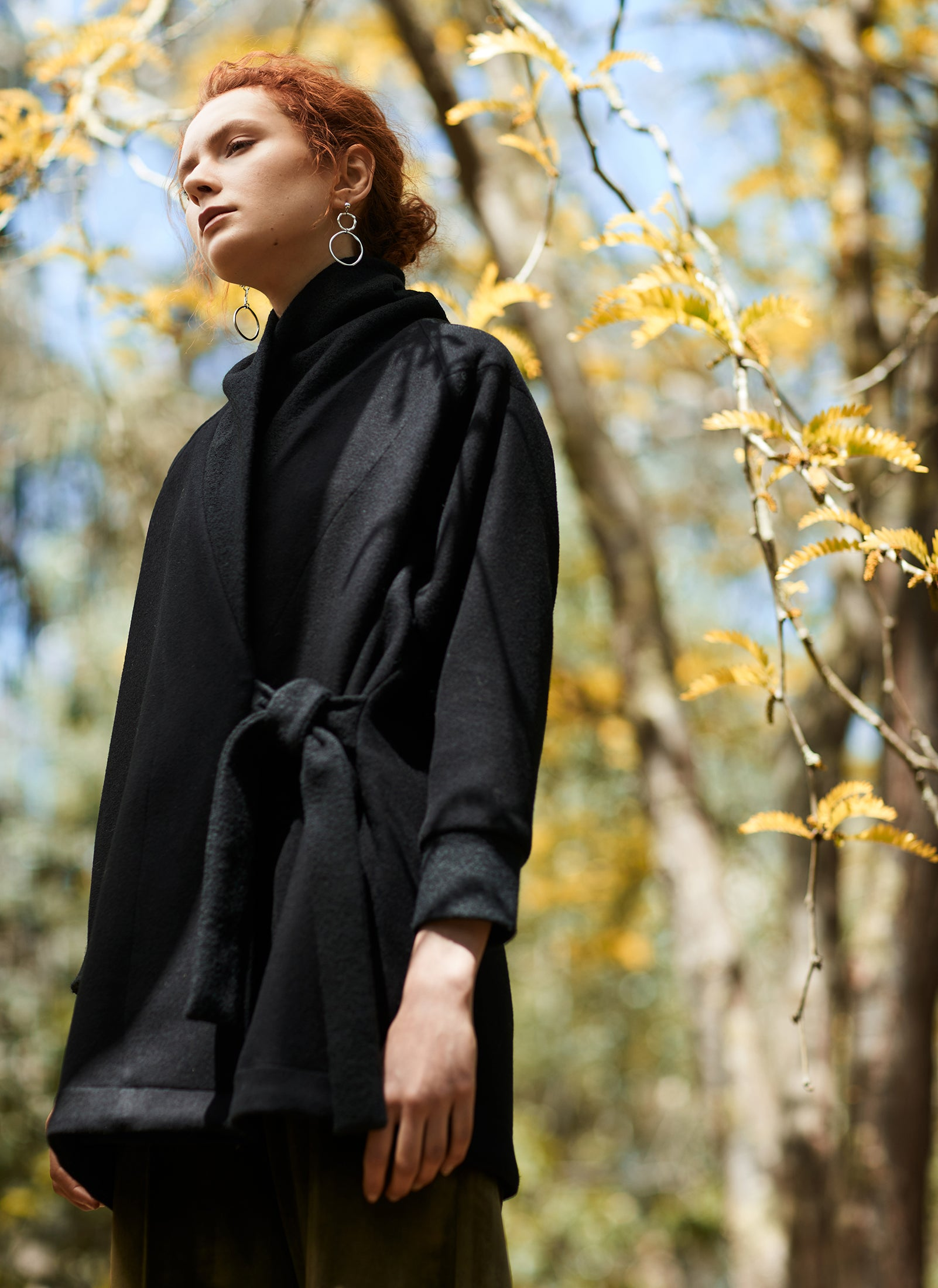 keegan AW19 Woodland Campaign Ethical Fashion Made in Melbourne Australia Black Wool Coat Bushland